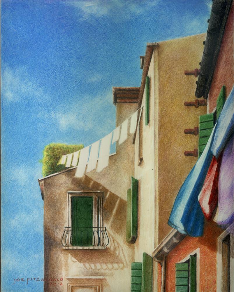 """""""Venetian Laundry"""" original fine art by Joe Fitzgerald"""