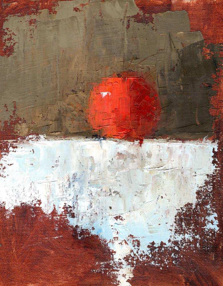 """The Tangerine on a White Cloth"" original fine art by Marlene Lee"