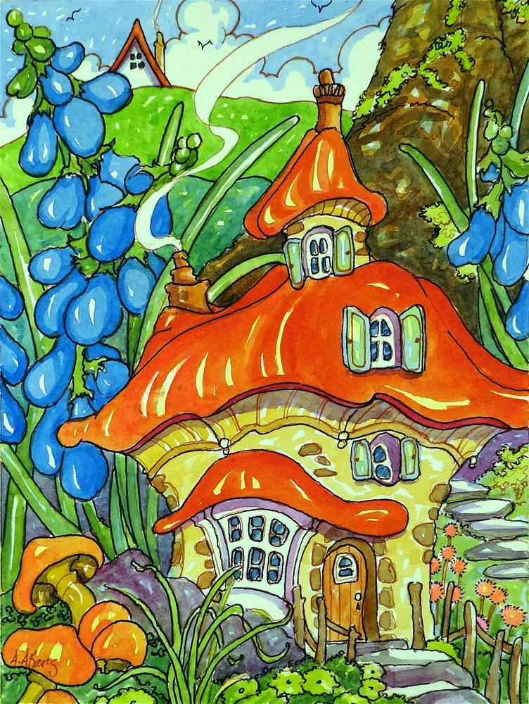 """""""Bluebells by the Door Storybook Cottage Series"""" original fine art by Alida Akers"""
