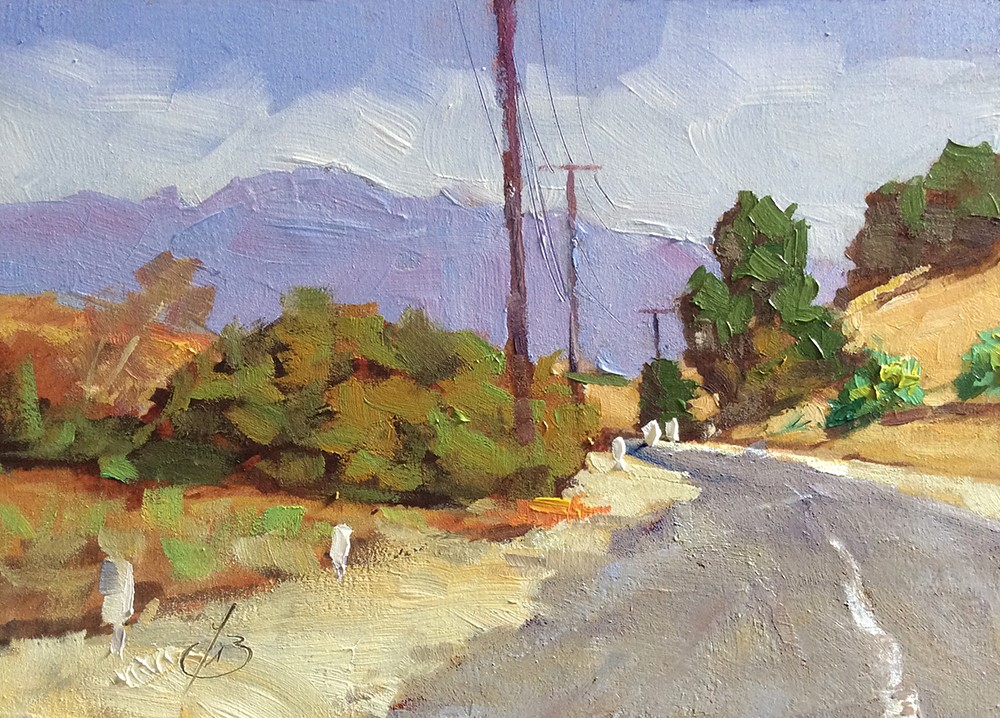 """""""SITTIN' BY THE SIDE OF THE ROAD"""" original fine art by Tom Brown"""