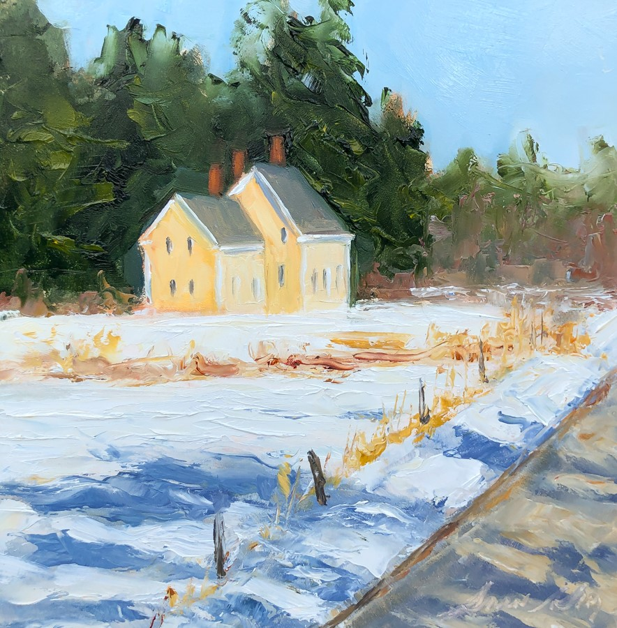 """#207 - Yellow Farmhouse - Freeport, ME"" original fine art by Sara Gray"