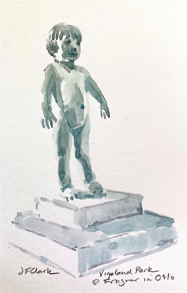 """Statue at Vigeland Park, Oslo, Norway"" original fine art by Judith Freeman Clark"