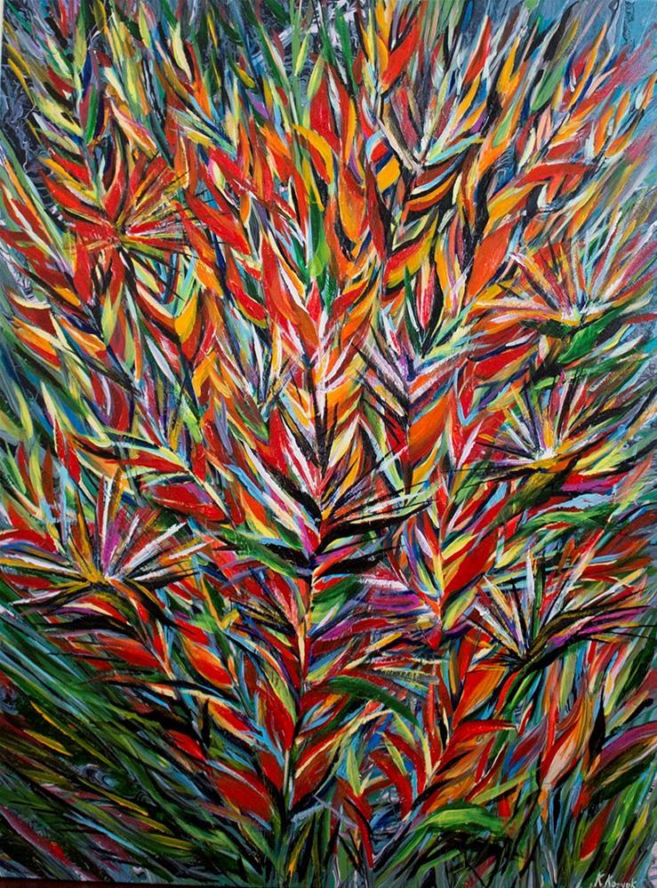 """Birth of Paradise,original painting on canvas tropical flowers"" original fine art by Khrystyna Kozyuk"