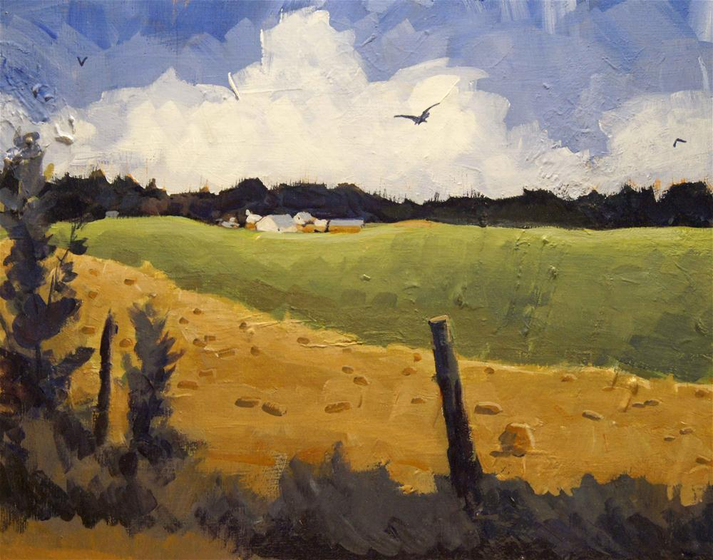 """Farm across yellow and green fields"" original fine art by Kevin Larson"