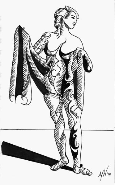 """Mark Webster - Adhira 9-15 - Abstract Geometric Futurist Figurative Ink Drawing"" original fine art by Mark Webster"