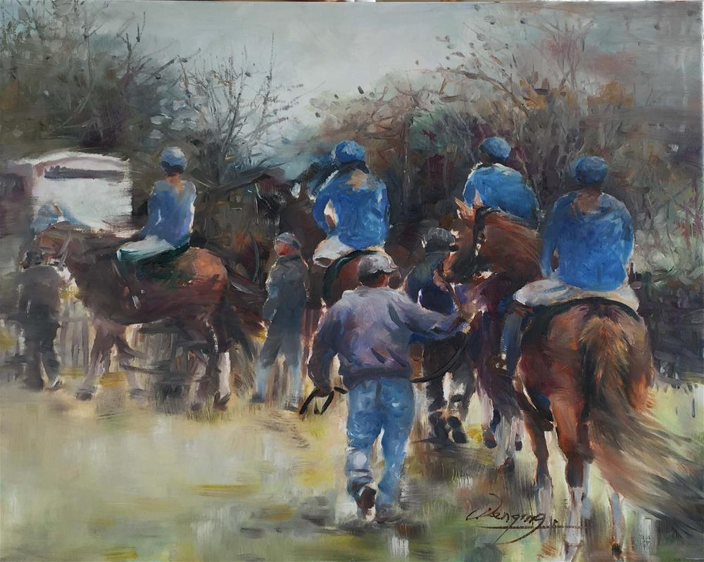 """horse race"" original fine art by Wenqing Xu"