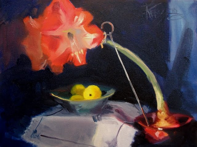"""Amaryllis with Lemons oil still life painting"" original fine art by Robin Weiss"