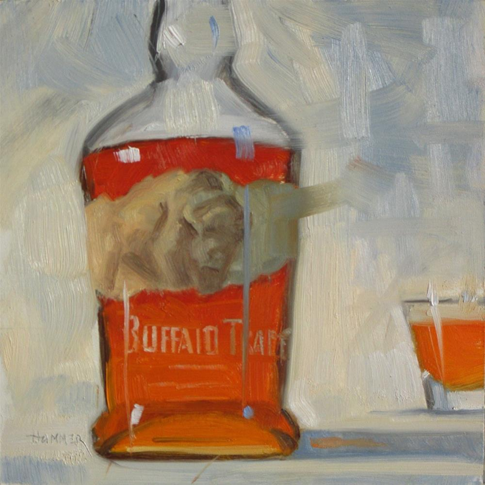 """Buffalo Trace 6in x 6in oil"" original fine art by Claudia Hammer"