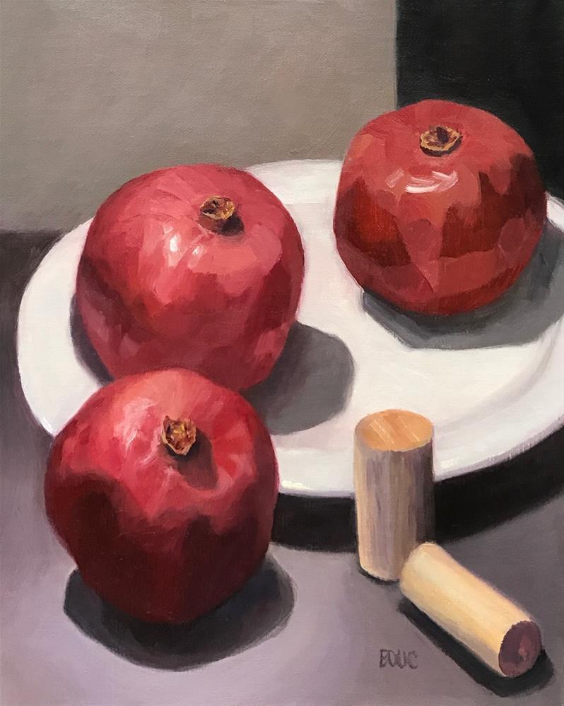 """Pomegranates and Corks"" original fine art by Jana Bouc"