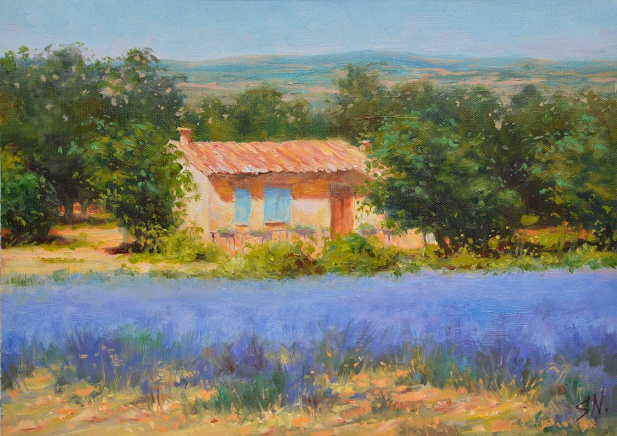 """""""Landscape of Provence - Cottage at the edge of lavender field"""" original fine art by Nick Sarazan"""