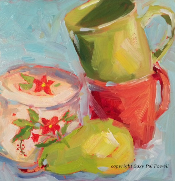 """""""Red and Green"""" original fine art by Suzy 'Pal' Powell"""