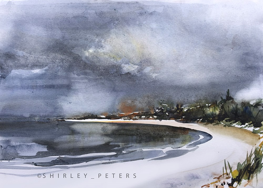 """Incoming Storm at Jimmy's Beach"" original fine art by Shirley Peters"
