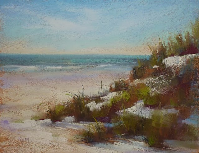 """Painting Demos in my Studio...Beach Dunes"" original fine art by Karen Margulis"
