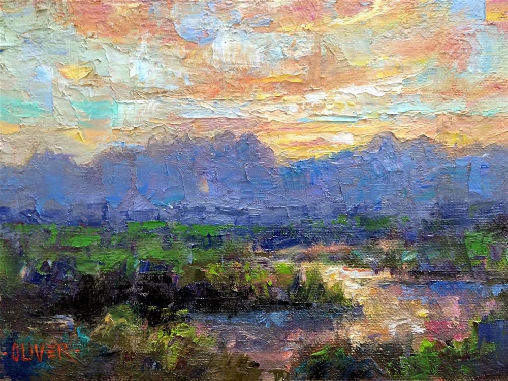 """Organ Mountain Sunrise"" original fine art by Julie Ford Oliver"