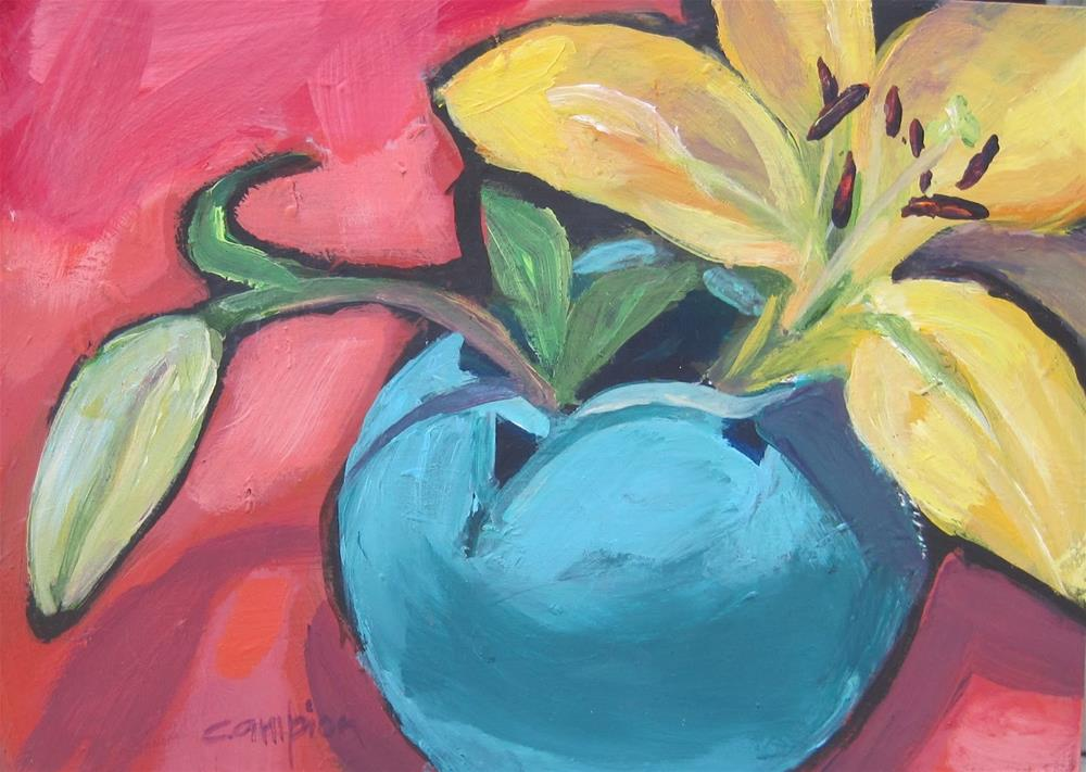 """116 Van Briggle Vase, One Lily and a Bud"" original fine art by Diane Campion"
