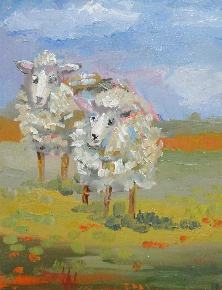"""Tow Woolly Sheep"" original fine art by Delilah Smith"