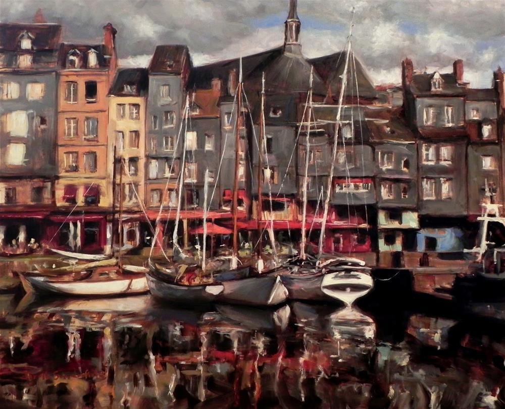 """Honfleur Boats V"" original fine art by Jonelle Summerfield"