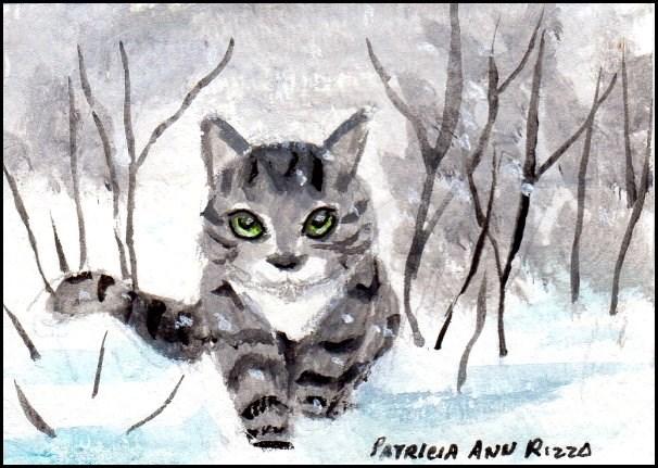 """""""Gray Tabby Prowling Thru Snow"""" original fine art by Patricia Ann Rizzo"""