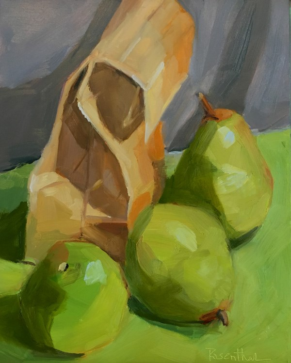 """Pears and Bag"" original fine art by Robin Rosenthal"
