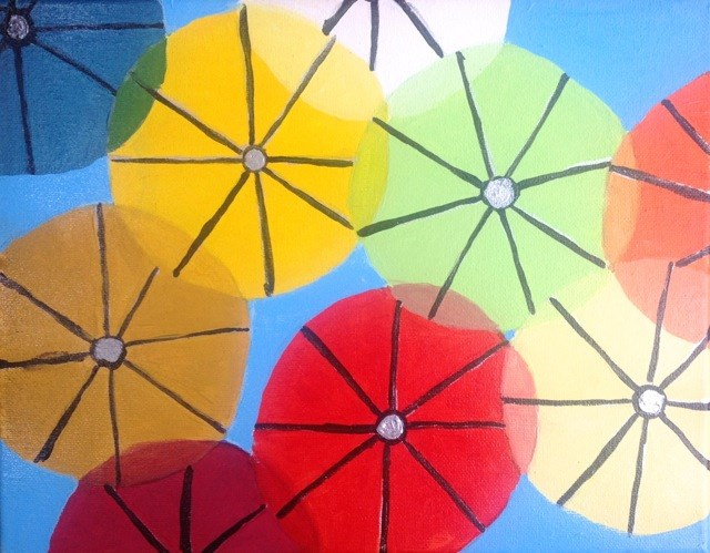 """Umbrellas in the Sky"" original fine art by Tracy Feldman"