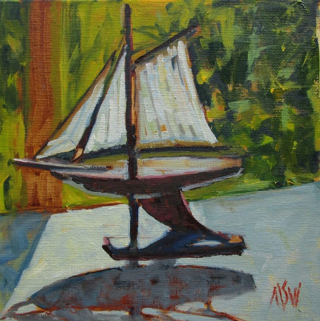"""""""Ship Model  8x8 on RayMar panel painted at a friend's house. Loved the way the outside light hit the sails."""" original fine art by Mary Sheehan Winn"""