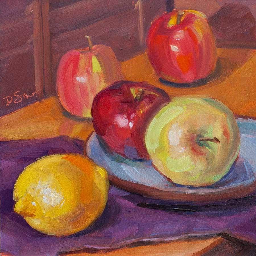 """Apples and a Lemon"" original fine art by Deborah Savo"