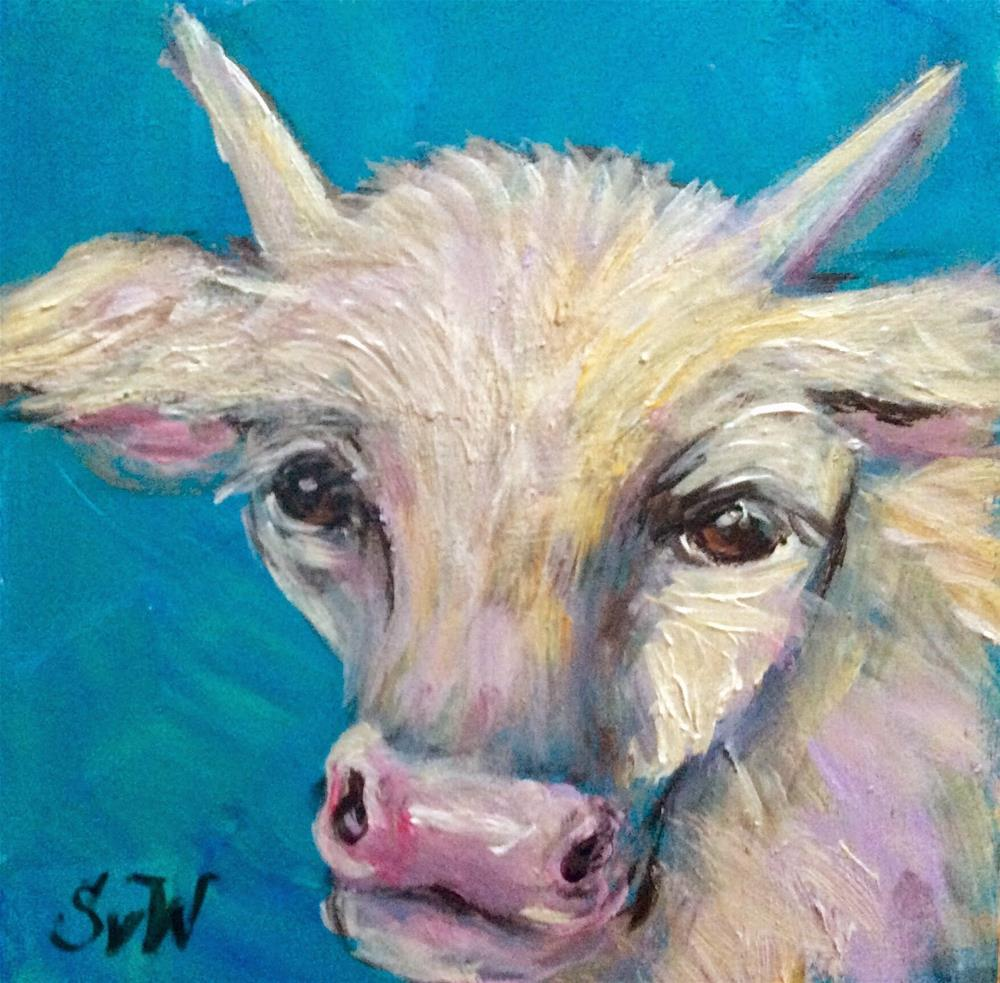 """White cow 2"" original fine art by Sonia von Walter"