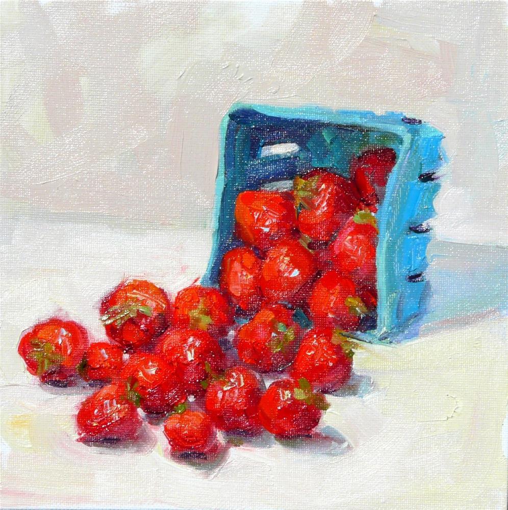 """Box of Strawberries,still life,oil on canvas,8x8,price$250"" original fine art by Joy Olney"
