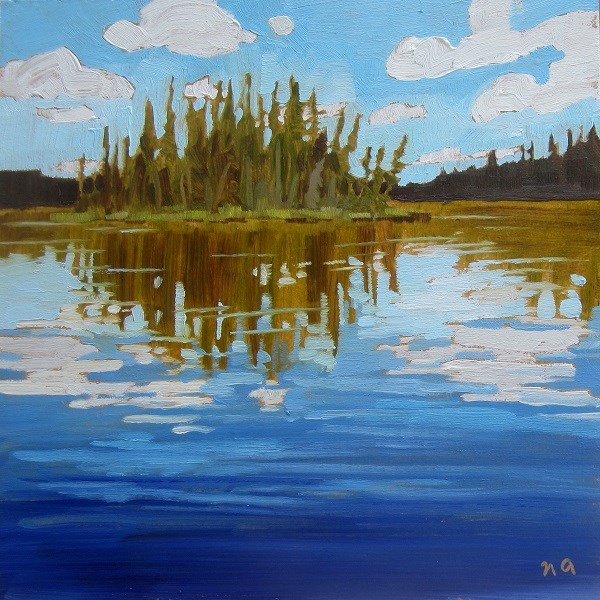"""Island Reflection, Heart Lakes"" original fine art by Nicki Ault"