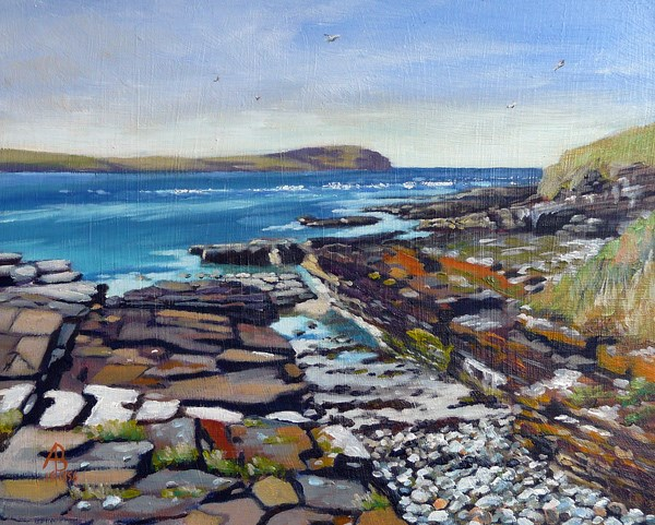 """Eynhallow Sound from Rousay, Orkney"" original fine art by Alix Baker PCAFAS AUA"