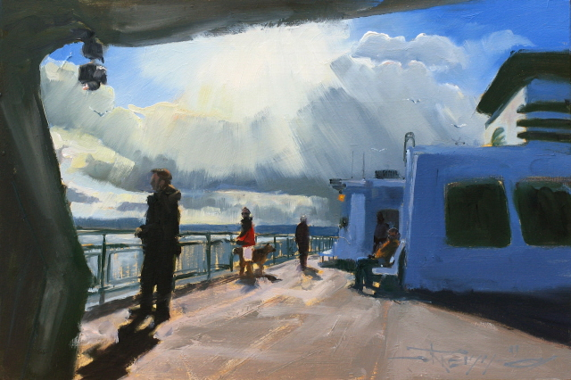 """Ferry Deck  Washington state ferry oil painting"" original fine art by Robin Weiss"