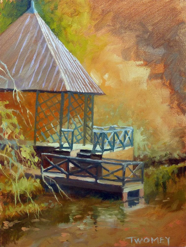 """The Biltmore Boat House Landscape"" original fine art by Catherine Twomey"