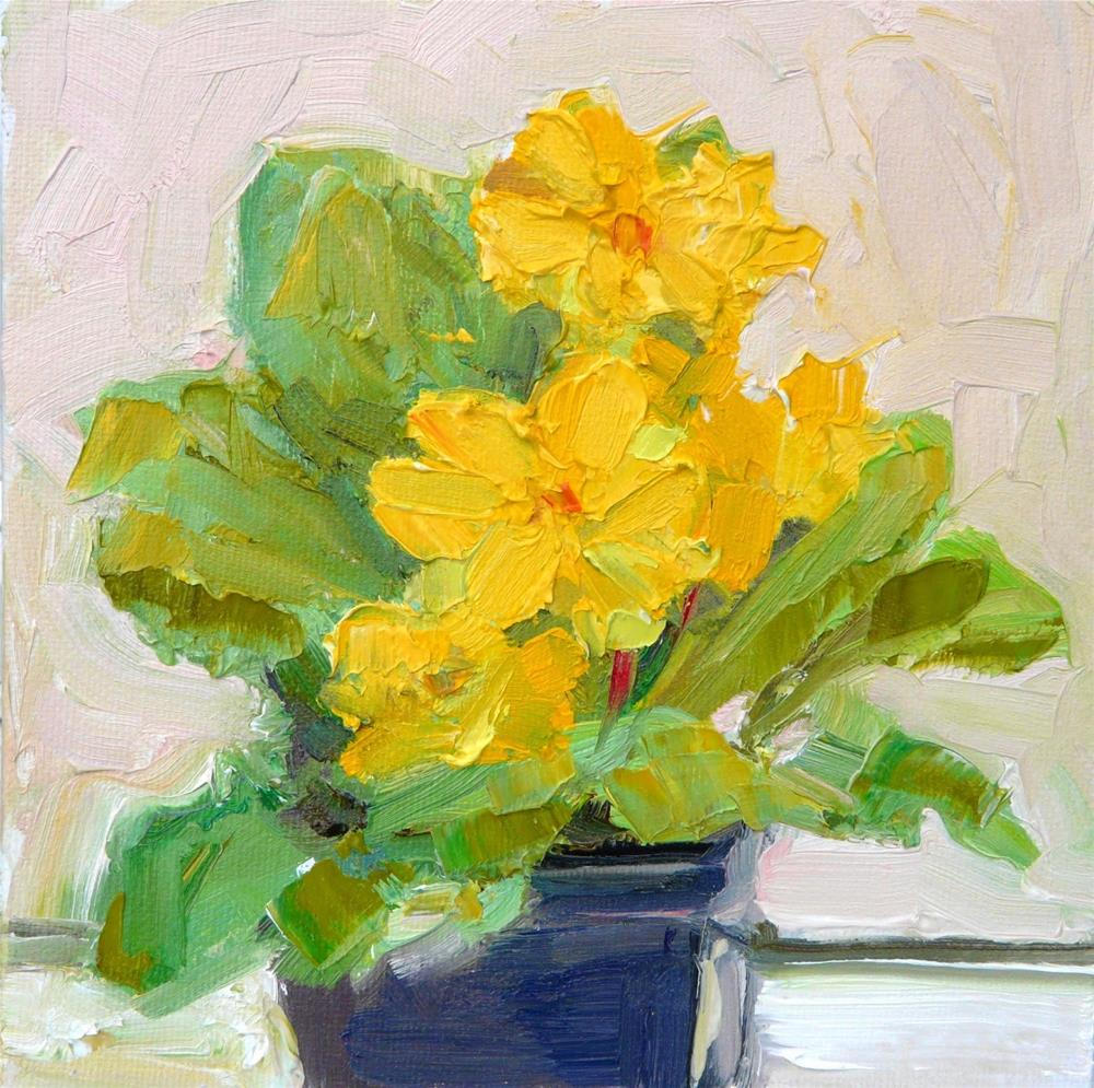 """Yellow Primrose,still life, oil on canvas,6x6,price$200"" original fine art by Joy Olney"