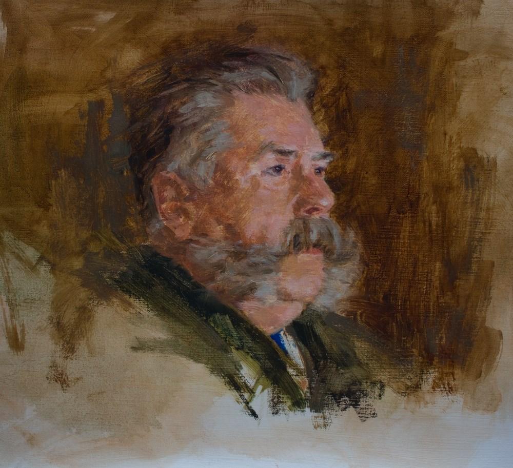 """""""Man with Handlebar Mustache"""" original fine art by Donna C Farrell"""