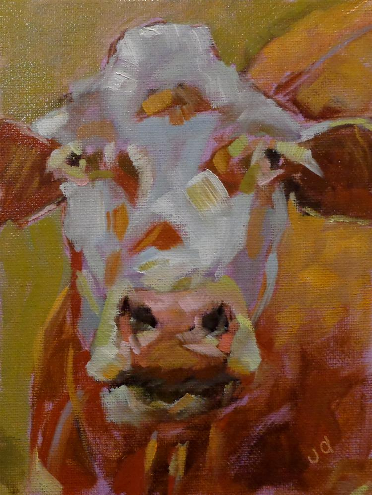 """""""Cow 30 I HAVE TIME ON MY SIDE"""" original fine art by Jean Delaney"""