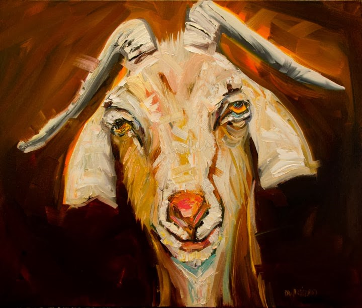 """ARTOUTWEST DIANE WHITEHEAD GOAT FARM ANIMAL ART SILLIER GOAT"" original fine art by Diane Whitehead"