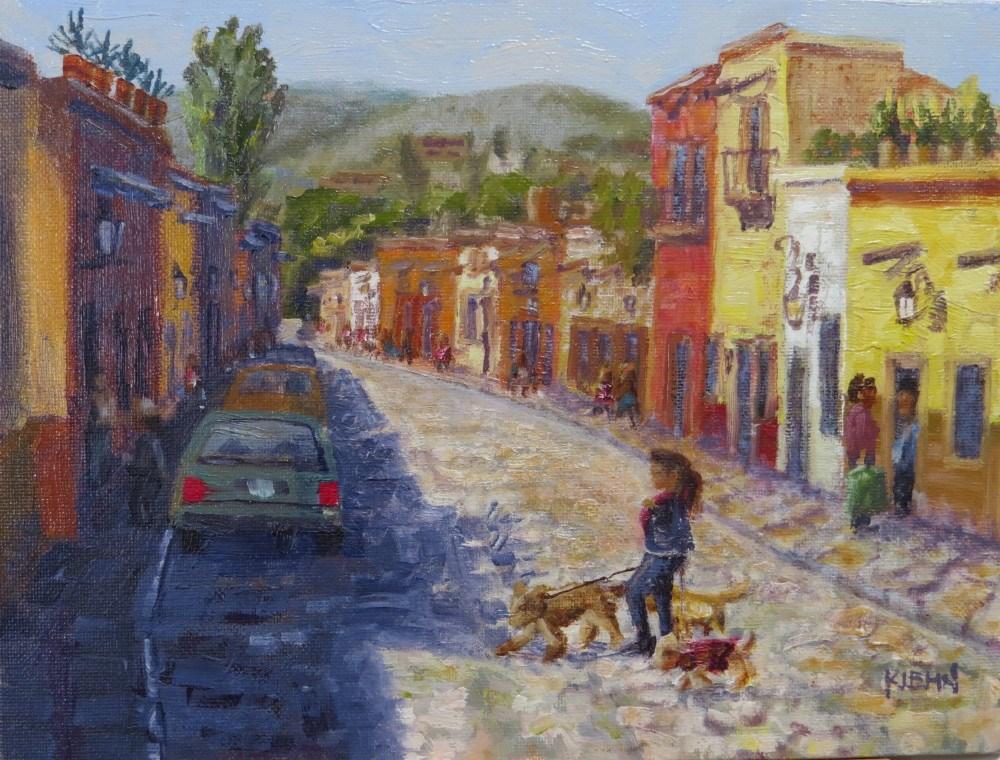 """""""Dog Walker in San Miguel de Allende"""" original fine art by Richard Kiehn"""