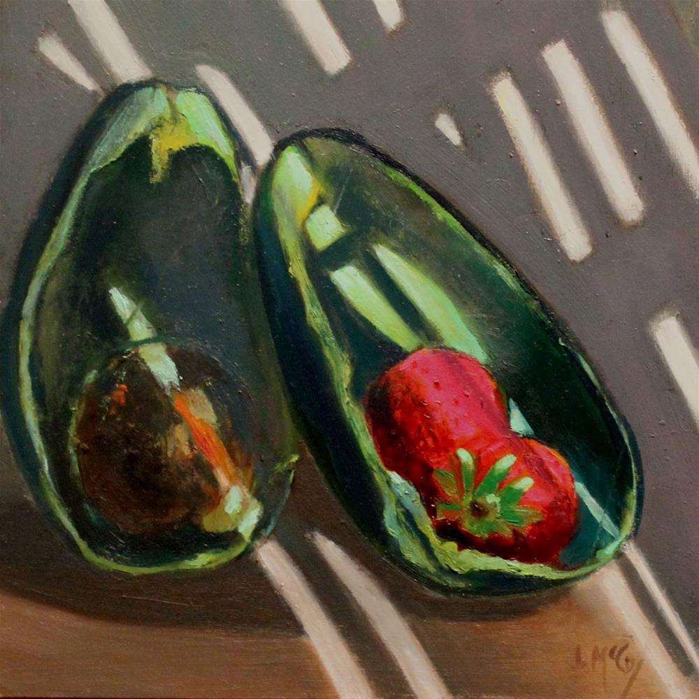 """Avacado and Strawberries_Linda McCoy"" original fine art by Linda McCoy"