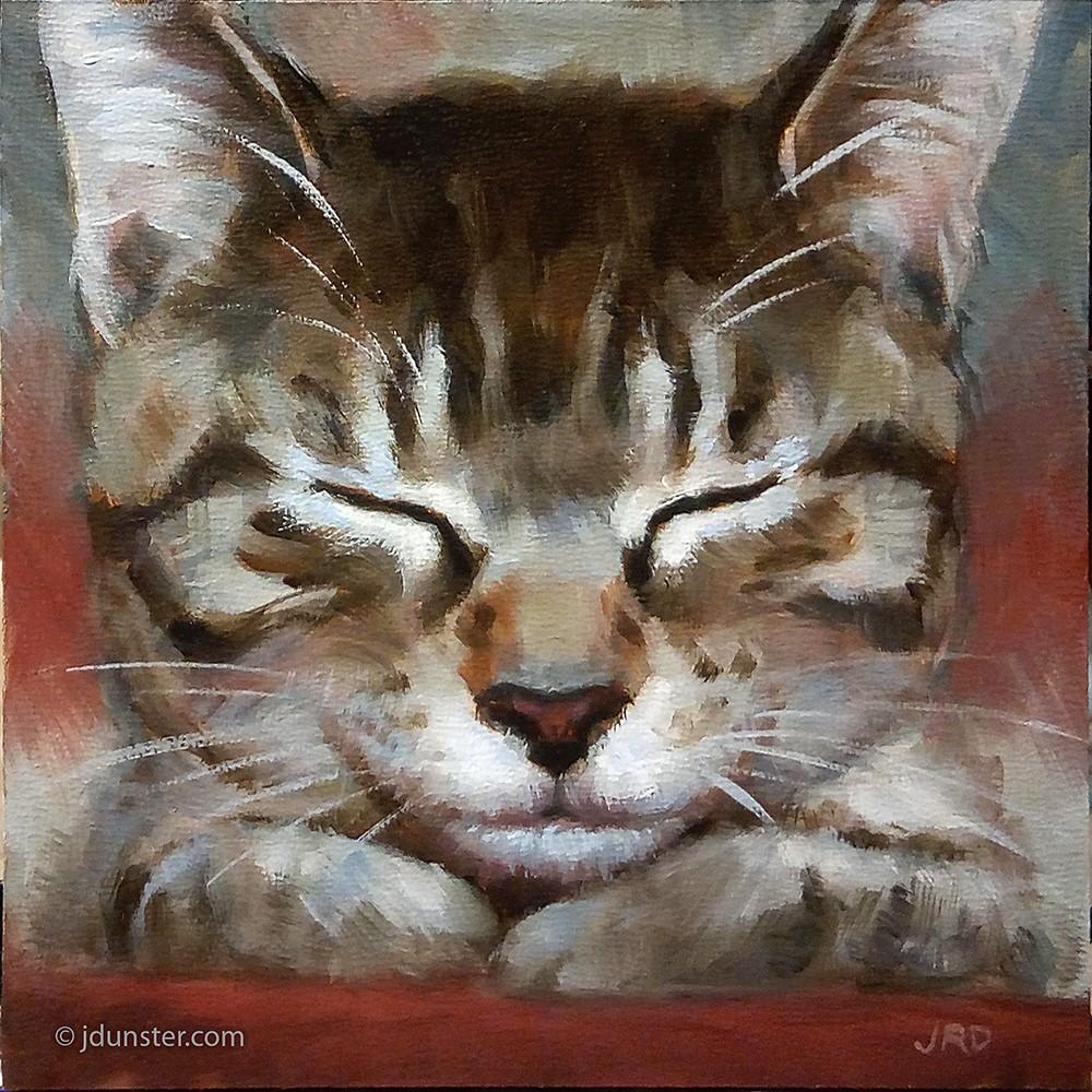"""""""Sleepy Kitten in Red & Green"""" original fine art by J. Dunster"""