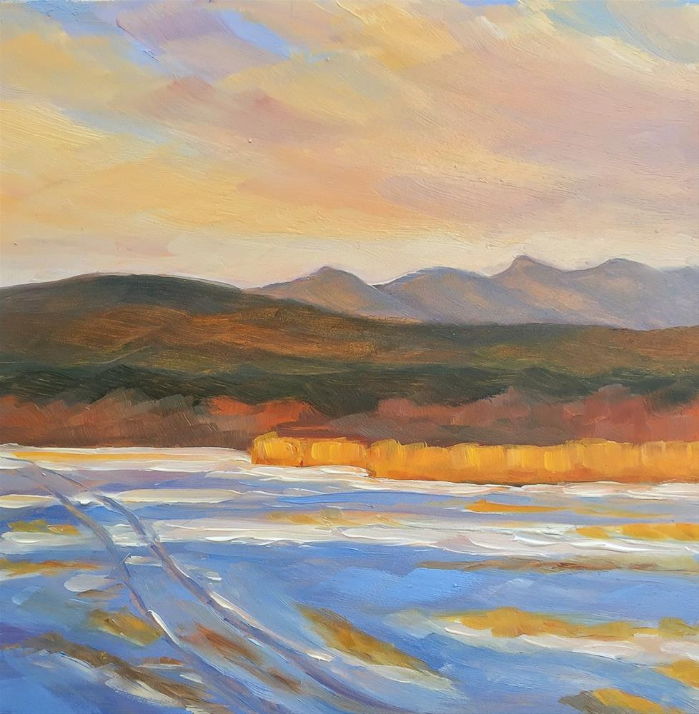 """#54 - Sunset over Cornfield in Winter - Stowe, VT"" original fine art by Sara Gray"