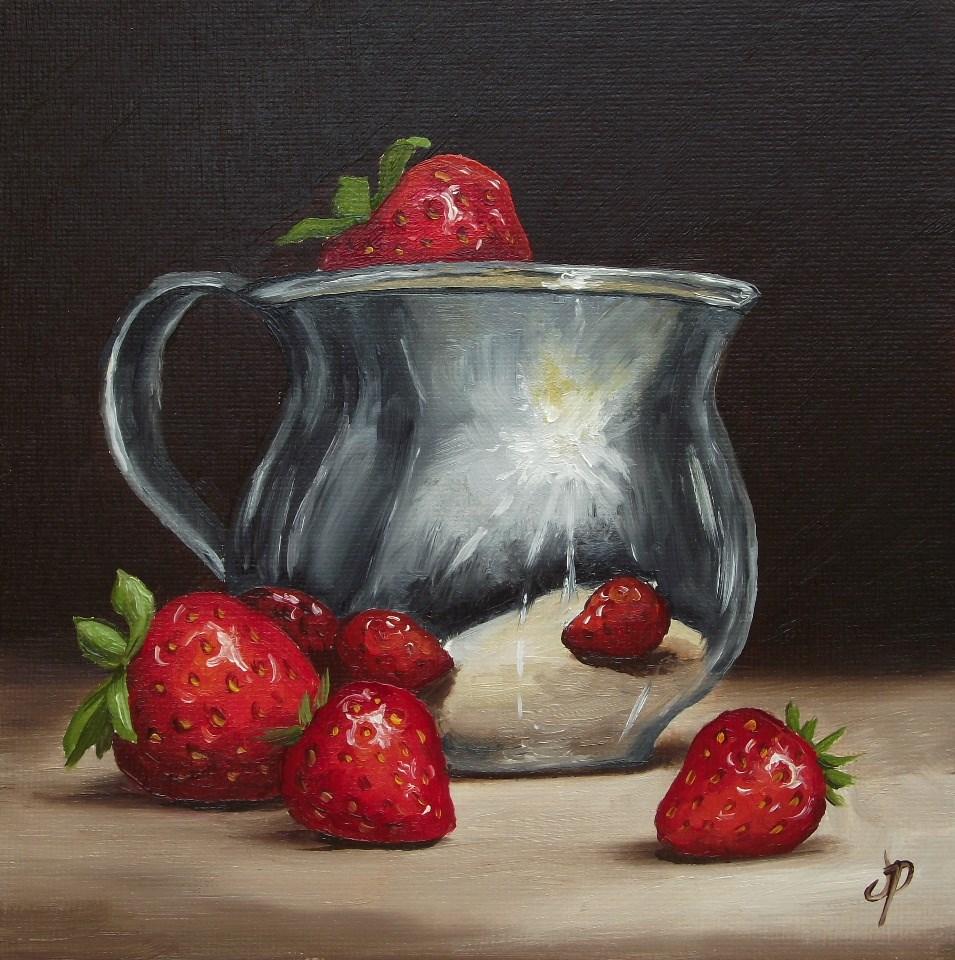 """Strawberries and Silver"" original fine art by Jane Palmer"