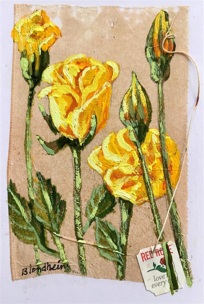 """""""Tea Bag Painting Yellow Roses"""" original fine art by Linda Blondheim"""