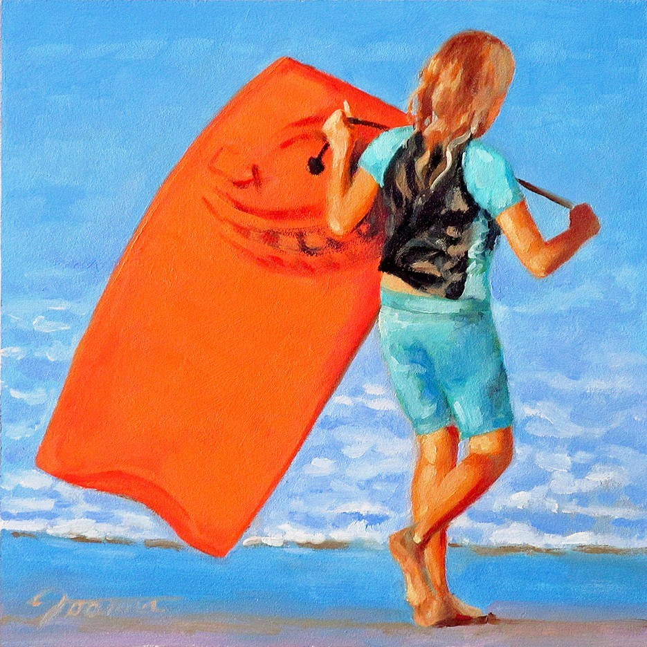 """Just Do It--Series Painting of Children On the Beach"" original fine art by Joanna Bingham"