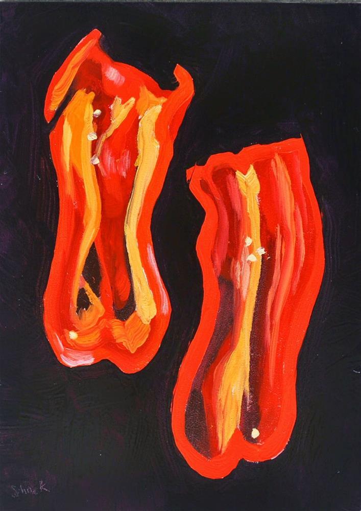 """Groovy Red Pepper - 5x7"" original fine art by Sharon Schock"