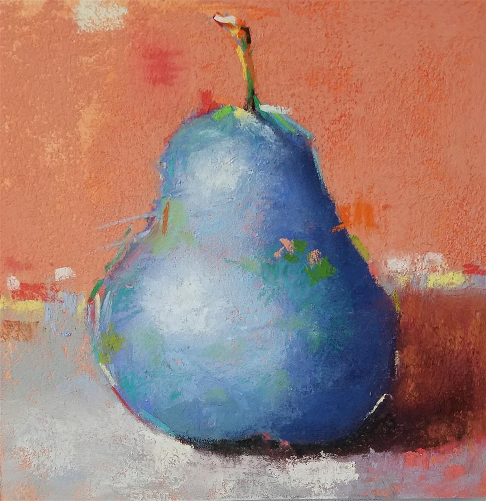 """""""A Bleu Pear with glass - Number 15 - Framed"""" original fine art by Cindy Haase"""