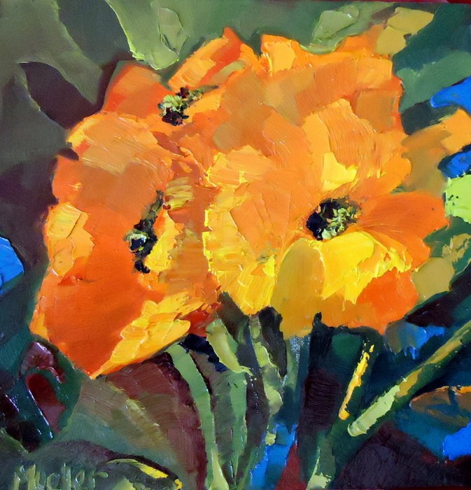 """Orange Energy"" original fine art by Laurie Mueller"