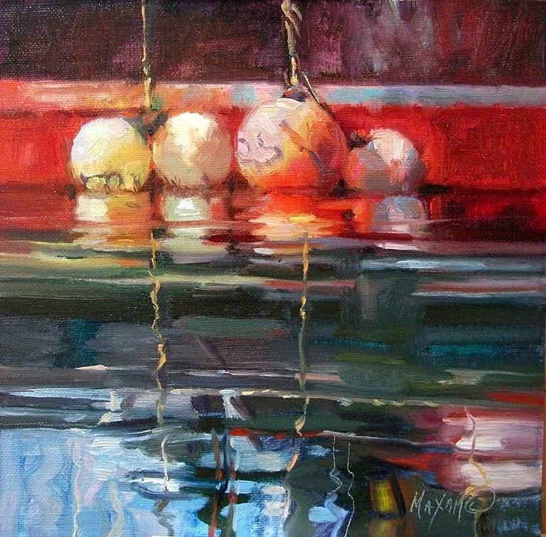 """Four Bouys"" original fine art by Mary Maxam"