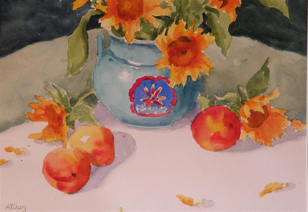 """Sunny Peaches"" original fine art by Alice O'Leary"