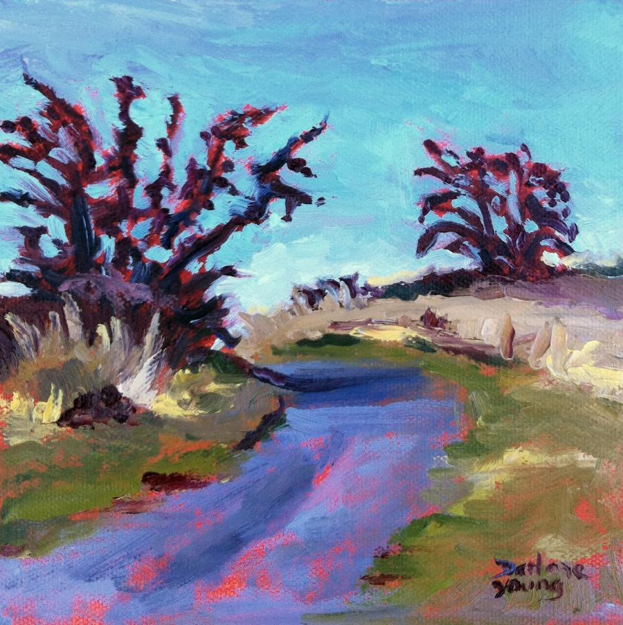"""Panama Flats Park, oil 6x6"" original fine art by Darlene Young"