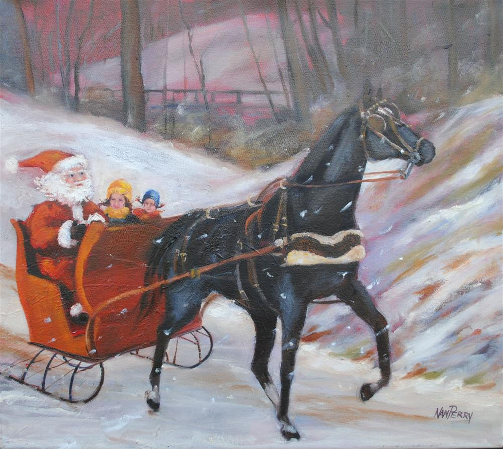 """""""Sleigh Ride with the Man"""" original fine art by Nan Perry"""
